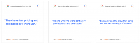 Screenshot of recent Google Reviews for Assured Insulation Solutions