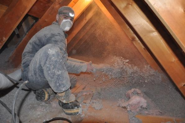 Blown cellulose insulation being applied to a Frankfort, IL home attic by Assured Insulation Solutions, LLC